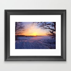 Snowed in peat fields Framed Art Print
