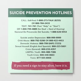 Suicide Prevention Hotlines Metal Print