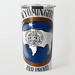 Wyoming Proud Flag Button Travel Mug