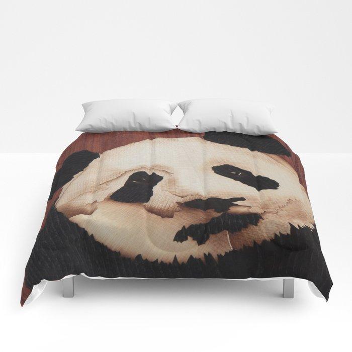 Cute Panda bear wooden marquetry Comforters