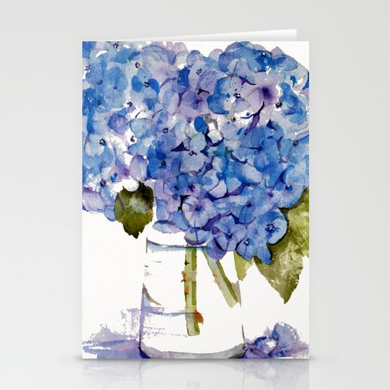 Hydrangea painting Stationery Cards