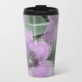Pink Roses With Silver Glitter Travel Mug