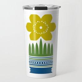 Nordic Yellow Flower Travel Mug