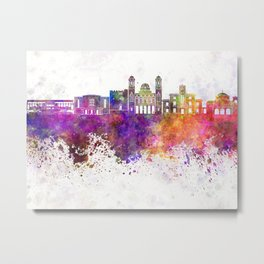 Limassol skyline in watercolor background Metal Print