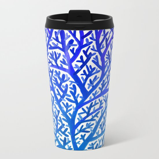 Fan Coral – Blue Ombré Metal Travel Mug