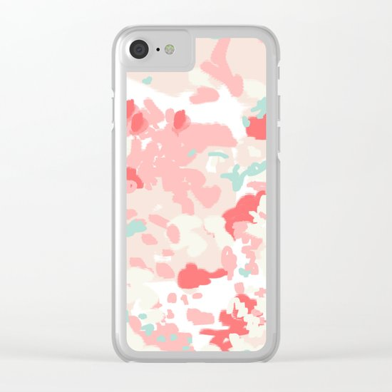 Kelsie - cute abstract minimal pink blush painterly dorm college office trendy decor Clear iPhone Case