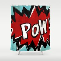 comic book Shower Curtains featuring Comic Book: Pow! by Ed Pires