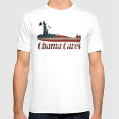 Obama Cares Mens Fitted Tee MEDIUM White