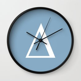 Delta letter sign on placid blue background Wall Clock