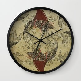 ying and yang shark fin goldfish Wall Clock