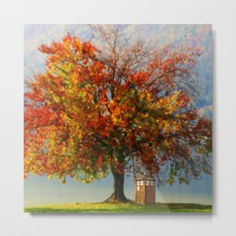 Tardis In The Lake Tree Metal Print