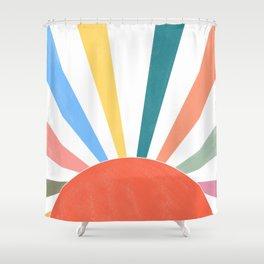 rainbow abstract sunrise Shower Curtain