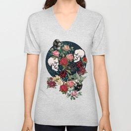 Distressed Floral with Skulls Pattern Unisex V-Neck