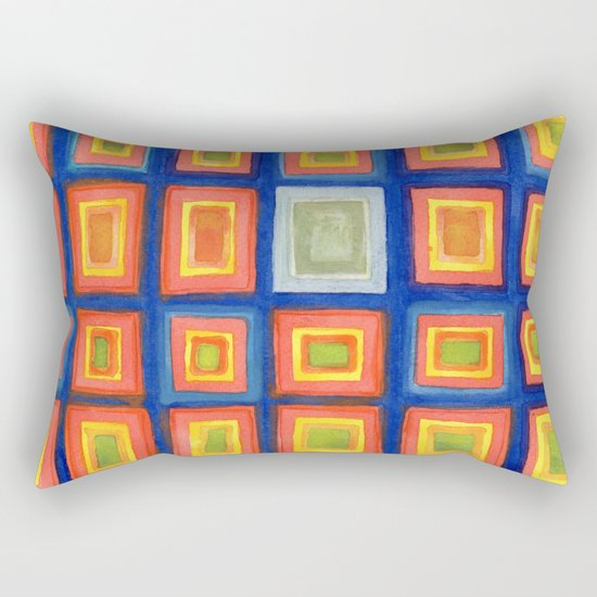 Square Pattern Beaming with Luminous Color Rectangular Pillow