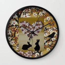 rabbits bunnies rabbit bunny love cute nursery art or romantic valentine valentines day Wall Clock