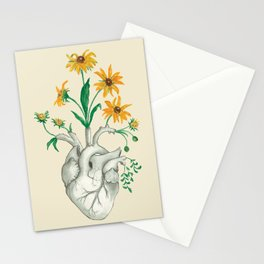 Floral Heart: Sunflower Human Anatomy Stationery Cards