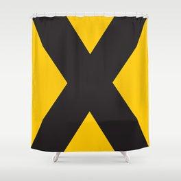 Sans Serif X. Black on Yellow. Shower Curtain