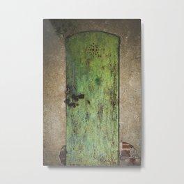 Rusty Green Door Metal Print