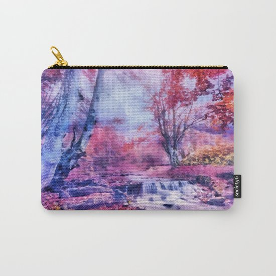 Waterfall in colorful autumn forest Carry-All Pouch