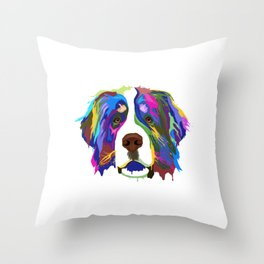 Splash Bernese Mountain Dog Throw Pillow