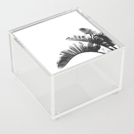 Palm leaves black and white tropical watercolor Acrylic Box