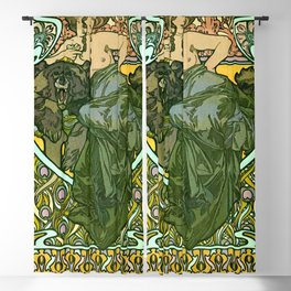 "Alphonse Mucha ""Documents Décoratifs, 1901 (47) - La Dame L'Ours"" Blackout Curtain"