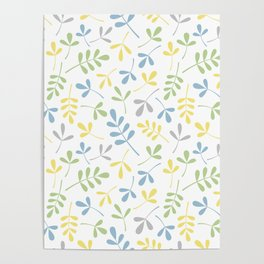 Assorted Leaf Silhouettes Blue Green Grey Yellow White Ptn Poster