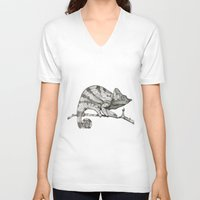 chameleon V-neck T-shirts featuring Chameleon by Pris Roos