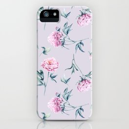 Delicate watercolor peonies seamless pattern on a pink background iPhone Case
