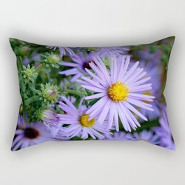 Hardy Blue Aster Flowers Rectangular Pillow