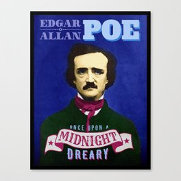 Edgar Allan Poe Raven Quote Portrait Canvas Print