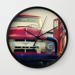 Red Farm Truck Wall Clock
