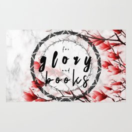 For Glory and Books Floral on Marble Rug