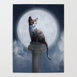 Cat In The Moon Poster