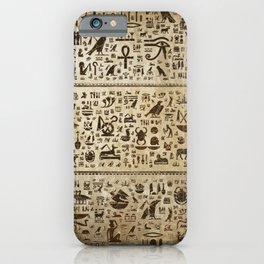 Ancient Egyptian hieroglyphs - Vintage and gold iPhone Case