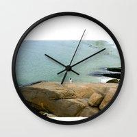 rio de janeiro Wall Clocks featuring Rio de janeiro Beach by Tatiana Mab