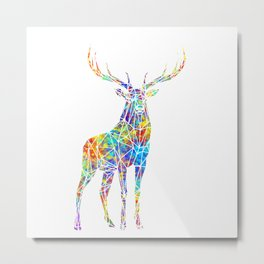 Colorful Watercolor Geometric Deer Metal Print