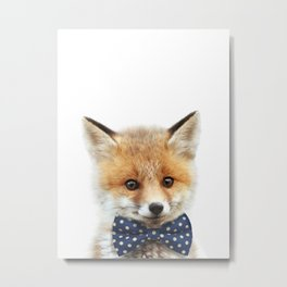 Baby Fox With Bow Tie, Baby Animals Art Print By Synplus Metal Print