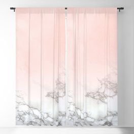 Blush Pink on White and Gray Marble III Blackout Curtain