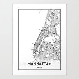 Minimal City Maps - Map Of Manhattan, New York, United States Art Print