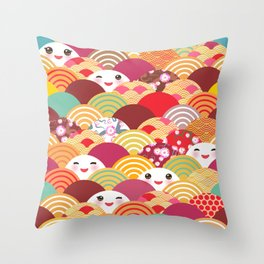 Kawaii Nature background with japanese sakura flower, wave pattern Throw Pillow