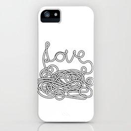 Spaghetti Love in Black and White iPhone Case