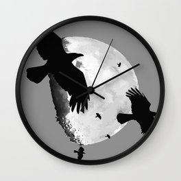 A Murder Of Crows Flying Across The Moon Wall Clock