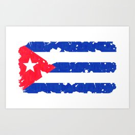 Grundge stylized cuban flag Art Print