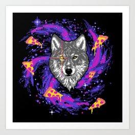 Galactic Pizza Wolf Art Print