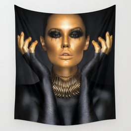 Black Gold Fashion Print, Gold Fashion Decor, Gold Fashion Art Wall Tapestry