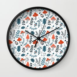 Winter mushrooms Wall Clock