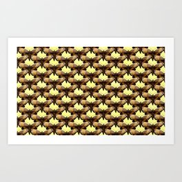 Brown Moths On Pastel Yellow Art Print