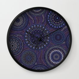 Dot Art Circles Purples Wall Clock