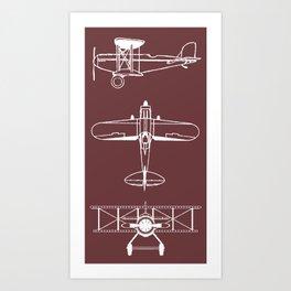 Biplanes // Tosca Red Art Print